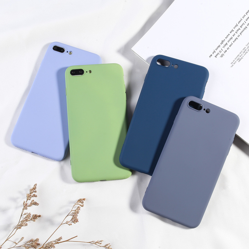 Luxury Candy Color Phone Cover For iPhone 7 8 Plus Case Simple Soft TPU Silicone Back Covers For iPhone 6 6s 7 8 X XS XR XS Max-in Fitted Cases from Cellphones & Telecommunications