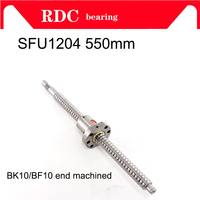 HOT mechined 12mm 1204 Ball Screw Rolled C7 ballscrew SFU1204 550mm with one 1204 flange single ball nut for CNC parts