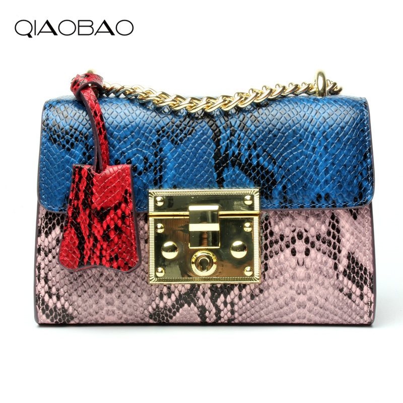QIAOBAO Snake Leather Bag / 2018 New Leather Chain Bag Colours One Shoulder Inclined Shoulder Bag Handbag Mini Party Bag 2017 120cm diy metal purse chain strap handle bag accessories shoulder crossbody bag handbag replacement fashion long chains new