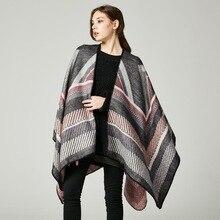 Vanled 2017 brand women poncho knit striped thick scarves capes imitation cashmere warm oversized blanket echarpe femme