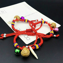 Baby The Newborn Bangles Bracelets The Dog Tooth Peach Pit Bracelets The Bell Red Rope Hand Catenary(China)
