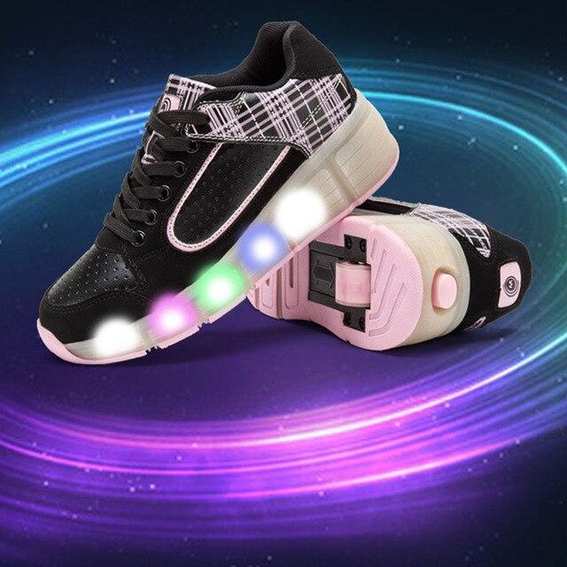 populaire led verlichting heelys kinderen schoenen met led light up wielen kids rolschaatsen schoenen sneakers