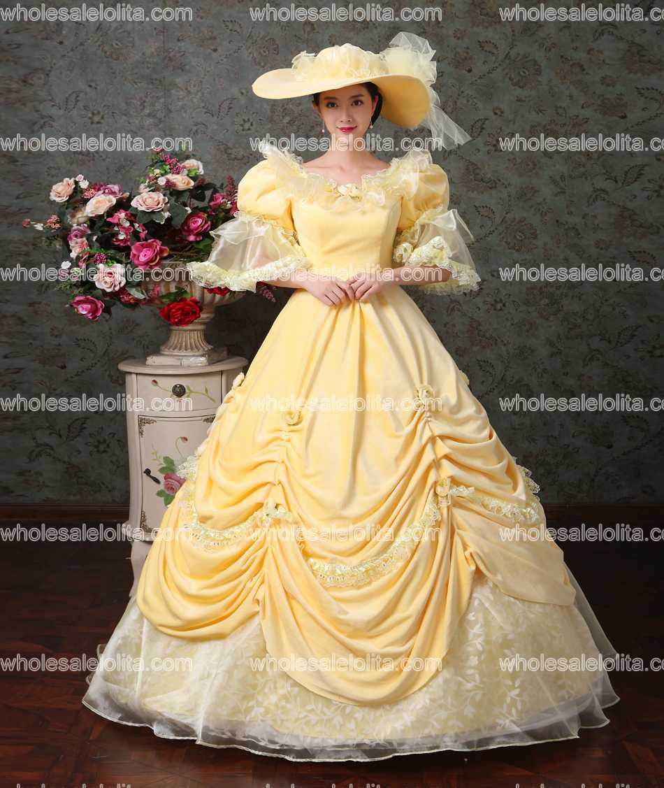 Orange Renaissance Colonial Floral Brocade Lace Dress Gown ...