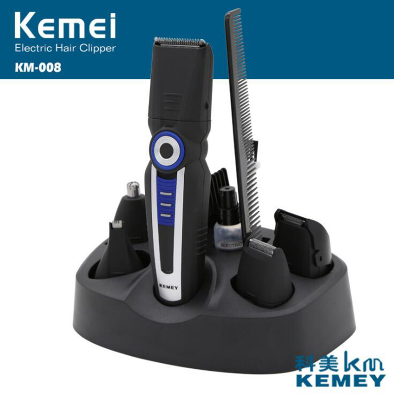 Kemei 6 in 1 Electric Hair Trimmer For Men 6 Blades Haircut Machine Rechargeable Beard Shaver Nose Trimmers Hair Clipper KM-008 kemei 5 in 1 waterproof rechargeable electric hair clipper men trimmer professional nose ear beard trimmers shaver cutting tool