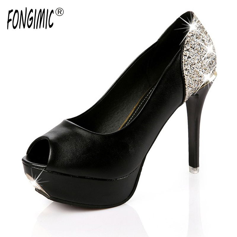 2016 spring autumn Korean sexy fish mouth women fashion pumps with a fine round white sequins high-heeled shoes waterproof shoes 2016 spring new fashion women hot sale nightclub sexy fine with platform high heeled shoes ol shoes baok 8e36