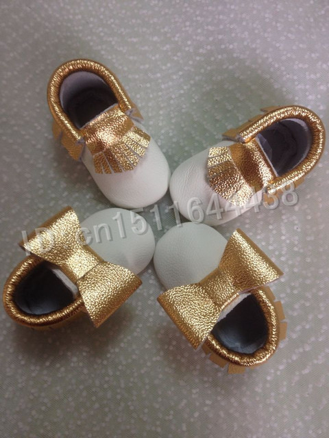 wholesale 10pairs Genuine Leather fringe white gold mixed colors Baby Moccasin sinfant shoes First Walker  newborn baby shoes