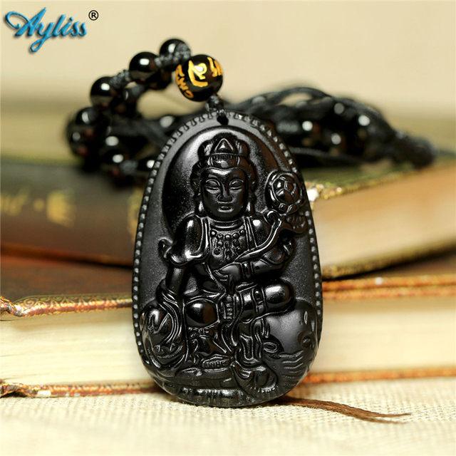QGEM Semi-Precious Gemstone Bodhisattva Amulet Talisman Pendant Obsidian Crystal Necklace Spiritual Ornaments H6bx9Ym