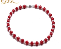High Quality 10.0mm Red Sea Real Coral Necklace with White Pearl Necklace