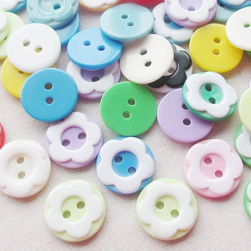Free Shipping 50pcs Mix Color 13mm Plastic Round Flower