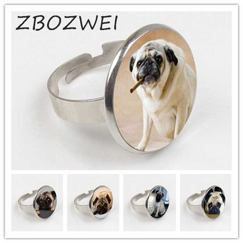 ZBOZWEI 2018 Wholesale Glass Dome Round Ring Animals Jewelry Pug Ring Dog Picture Ring The Best Gift for Dog