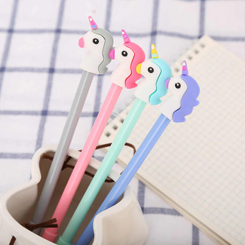 1pcs Unicorn Gel Pen0.5mm Stationery Cartoon Cute Pens Novelty Cute Gel Pens Student Black Kawaii Pen Kawaii School Supplies