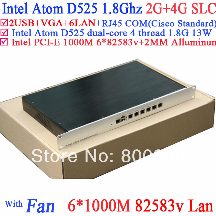 High quality 1U Soft router server with 6*intel 82583V Gigabit LAN Atom D525 support ROS Mikrotik PFSense Wayos 2G RAM 4G SLC бп atx 350 вт exegate aa350 ex253681rus