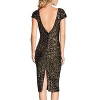 Moda Feminina Sexy Glitter Dress Gold Sequin Dress Womens Sexy Dresses Party Night Club Dress Zanzea