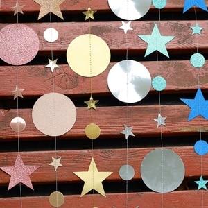 Image 5 - 4MกระดาษGarland StarวงกลมStringแบนเนอร์แบนเนอร์งานแต่งงานวันเกิดPARTYตกแต่งBaby Shower Favors PARTY Bunting Flags