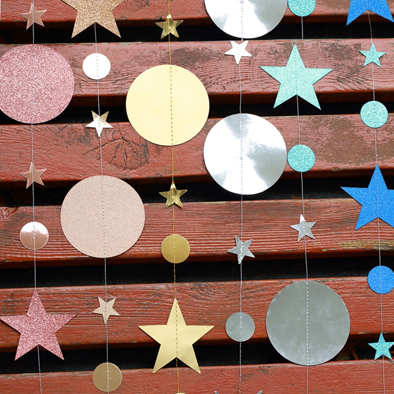 Image 5 - 4M Paper Garland Star Circle String Banners Wedding Banner Birthday Party Home Decoration Baby Shower Favors Party Bunting Flags-in Banners, Streamers & Confetti from Home & Garden