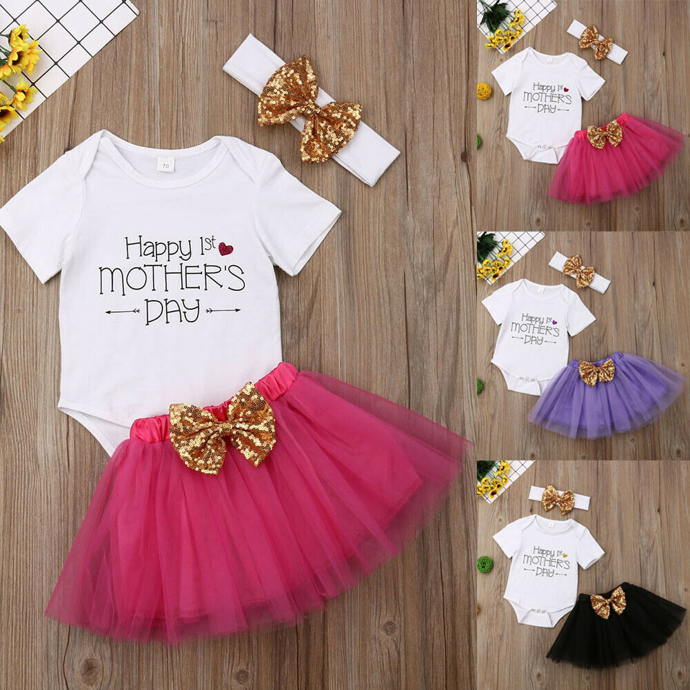 Baby Girl My First Mother/'s Day Clothes Infant Girl Letter Print Romper+Tutu Skirt with Headband Outfit Set