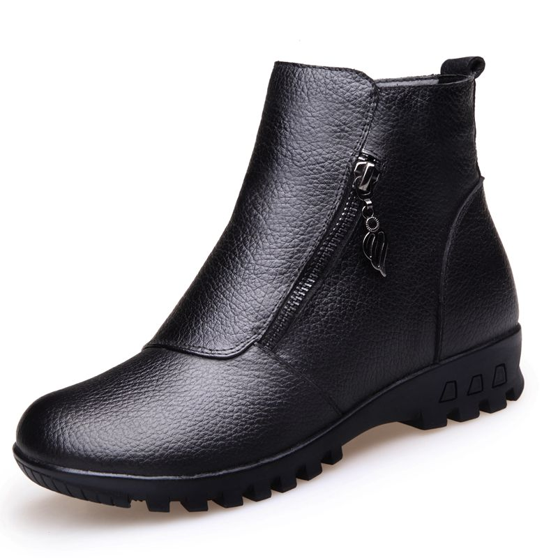 ФОТО Women Boots 2017 Winter Warm Snow Boots Genuine Leather Fashion Best Quality women boots warm plush winter shoes Big Size 35-41