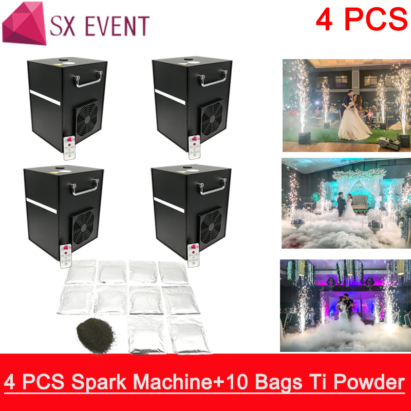 (4PCS+10bags) Powder 400W Cold Spark Firework Machine Dmx Remote Control Smokeless Stage Effect Wedding FX Machine(4PCS+10bags) Powder 400W Cold Spark Firework Machine Dmx Remote Control Smokeless Stage Effect Wedding FX Machine