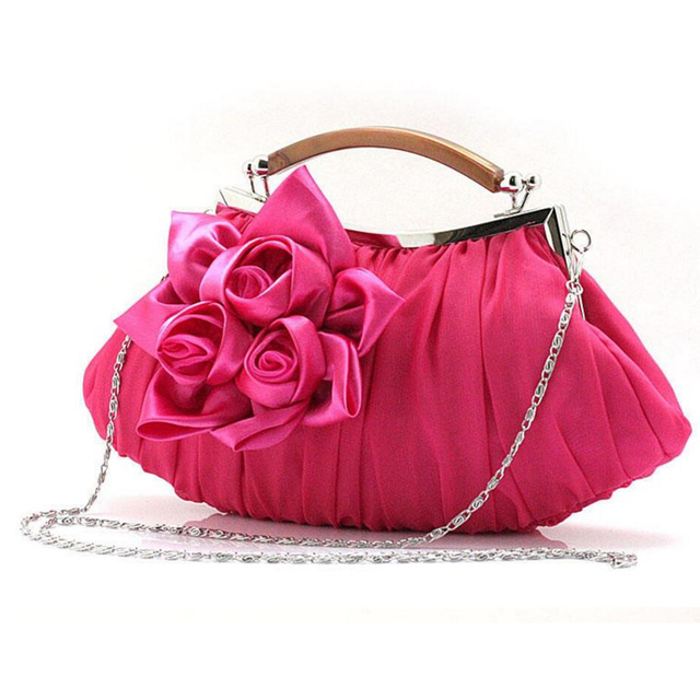 2017 Bride Flower Clutch Bags Top Elegant Women Evening Bag Ruched Design Party Purse Small TOtes Chain Handbags Woman Bag