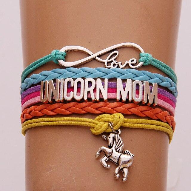 Drop Shipping Infinity Love Unicorn Mom Bracelets Unicorn Charm Handmade Braided Bracelet & Bangles Leather Jewelry