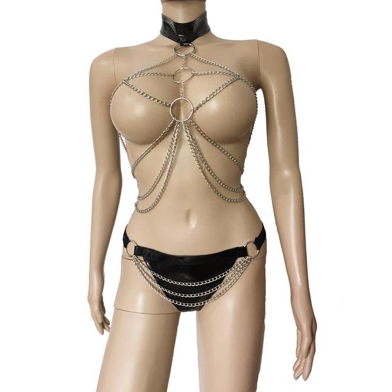 Womens Sexy Metalen Ketting Bondage Drape Open Borst Top Vest Met Bezaaid Lakleer Thong Bikini Lingerie Set Fetish Kostuum