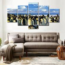 Wall Art 5pcs/set The Antarctic Penguins Poster Artwork Canvas Painting Print Animal HD Picture for Home Office Decor Large Ship(China)