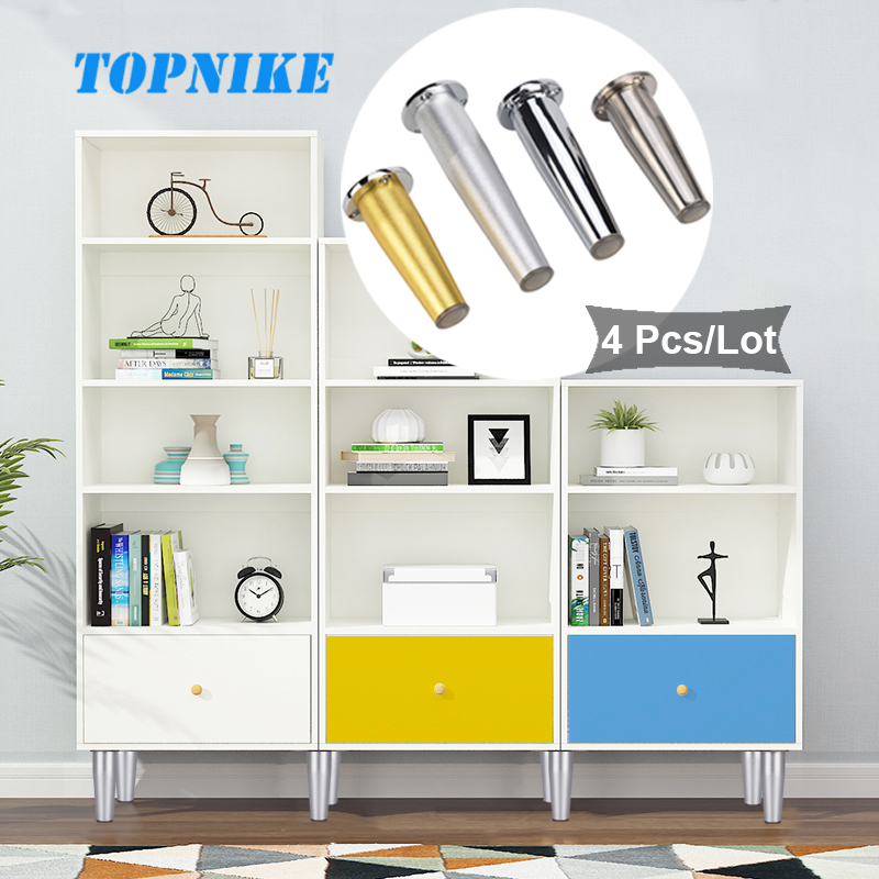 TOPNIKE 4 Pcs/Lot European Round Furniture Foot Pad Cabinet Foot Adjustable Height Table Foot Kitchen Cabinet Legs Gold