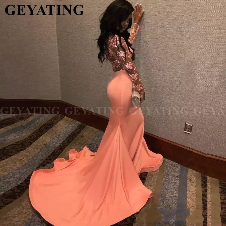 Sexy Lace Appliques Mermaid Coral Black Girls Prom Dresses Long Sleeves Plus Size African Formal Evening Gowns Graduation Dress