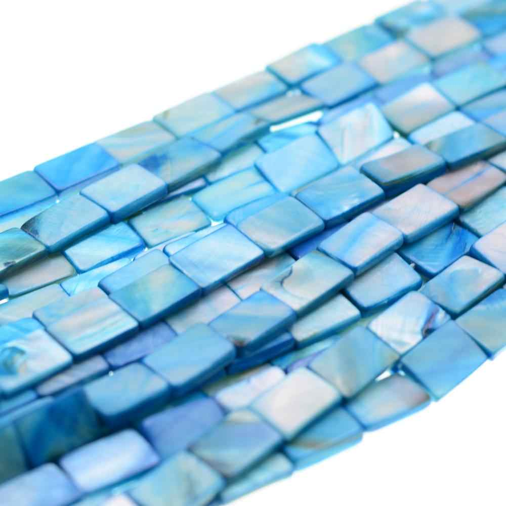 Wholesale Natural 10x15mm Rectangle Blue Shell Beads for Jewelry Making Crystal DIY Bracelet Necklace Free Shipping