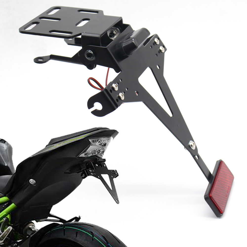 Motorbike Adjustable Angle License Number Plate Holder Bracket For Kawasaki Z650 Z900 Z800 Z1000 Z1000SX Z250 Z300 Z125