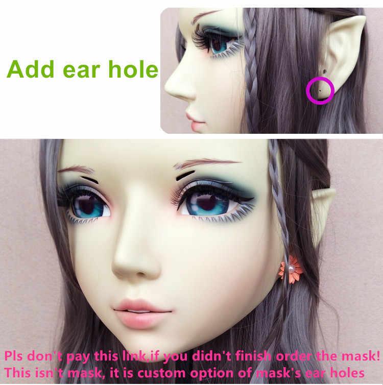 (DM107) Смола Девушка Японии Аниме Kigurumi Косплэй маска BJD женскую одежду по индивидуальному заказу проколотых ушей
