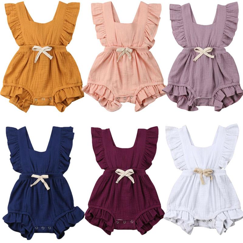 2019 New Style Infant Newborn Baby Girls Ruffle   Rompers   One-Pieces Cotton Baby Girl Summer Sleeveless   Romper   Jumpsuit Sunsuit