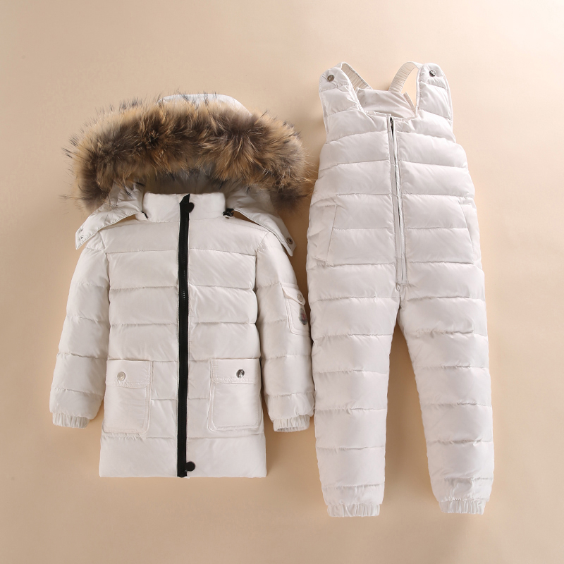 Kids Winter Raccoon Fur Duck Down Padded Jacket Warm Jumpsuit Set Coat Pants Set 2017 winter new clothes to overcome the coat of women in the long reed rabbit hair fur fur coat fox raccoon fur collar