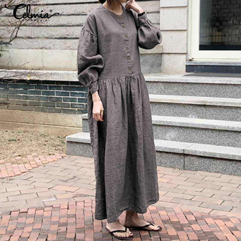 Autumn Vintage Dress 2019 Celmia Women O-neck Long Sleeve Buttons Casual Loose Female Dresses Pleated Maxi Long Vestidos S-5XL