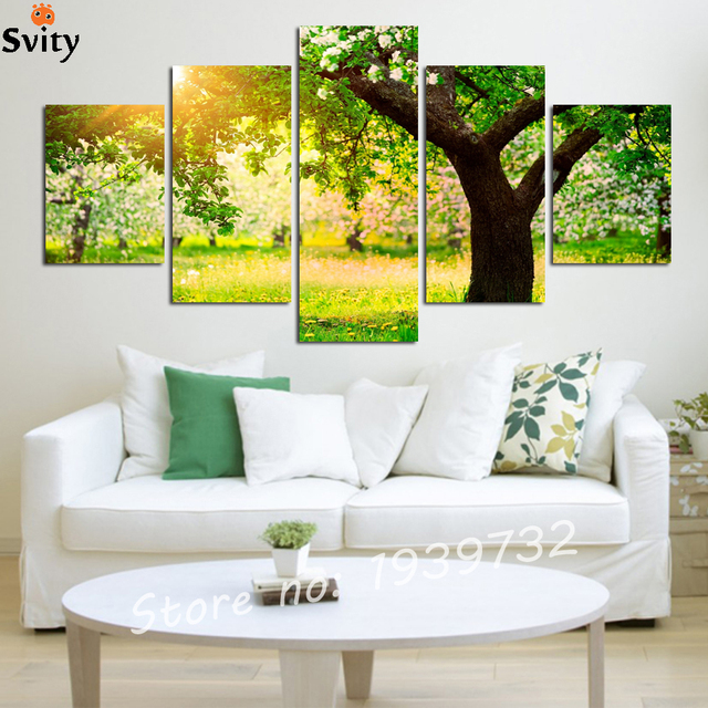 Green trees park 5 piece Cheap Modern HD Print cuadros Painting on ...