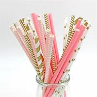 125pcs Colorful Striped Paper Straws Drinking Straws Party Disposable For Kids Birthday Wedding Decoration Event Supplies