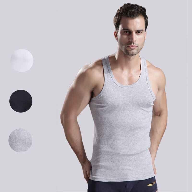 3 teile/los männer Unterwäsche Baumwolle Herren Ärmelloses Top Muscle Weste Unterhemden Oansatz Gymclothing Asiatische größe Männer Unter hemd