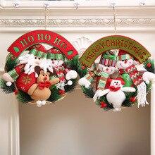 Christmas Decoration Vine Wreath Door Drop Ornaments Santa Claus Snowman Elk Family Doll Pendant for Home Party Xmas Decoration