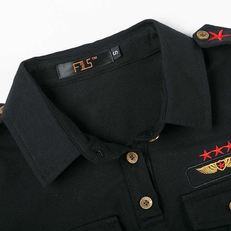 新しいカジュアルポロシャツプラスサイズトップスミリタリースタイルアーミーグリーン黒綿スリムポロシャツ刺繍 m8806