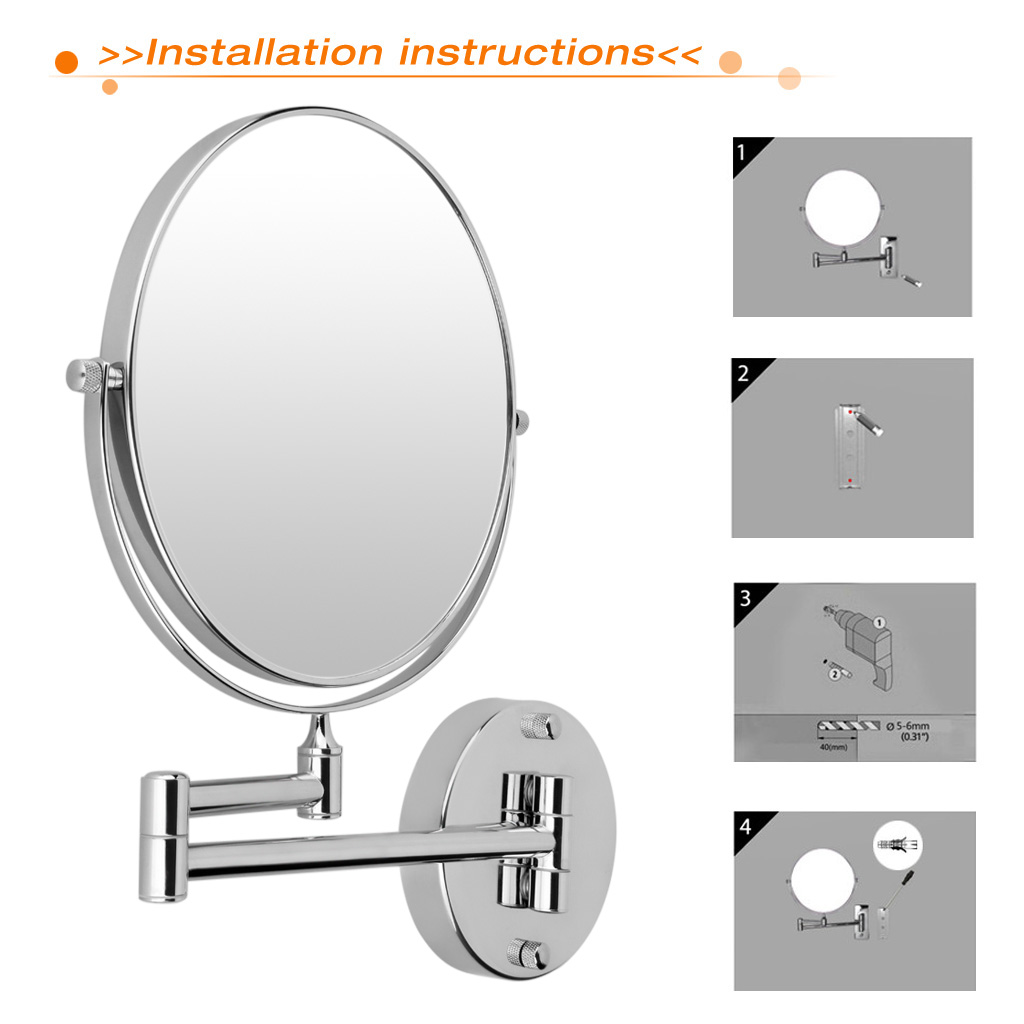 Chrome Round Base Wall Mounted Magnified Standard Double Side 8