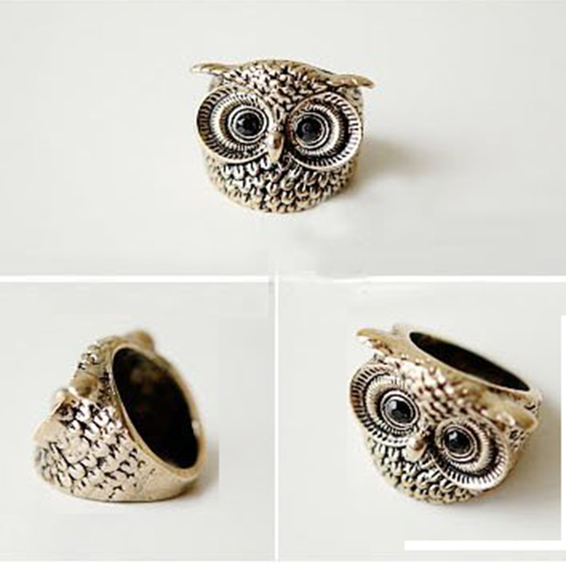 2016 Fashion Jewelry Rings Wholesale Famous New Bands High Quality Women Party Trendy Good Animal Owl Ring Retro Cute Owl Rings