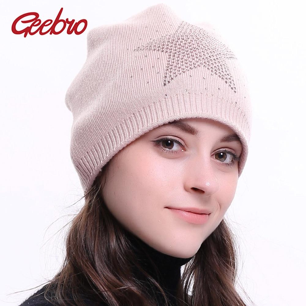 Geebro Women s Cashmere Beanie Hat Winter Knitted Warm Slouchy Beanie for  Female Ladies Star Rhinestones Balavaca 70b87fa2b37