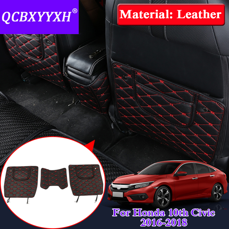 QCBXYYXH Car Armrest Cover Kick Pad Case Back Seat Protection Mat Children Anti-Kick Pad For Honda 10th Civic 2016-2018