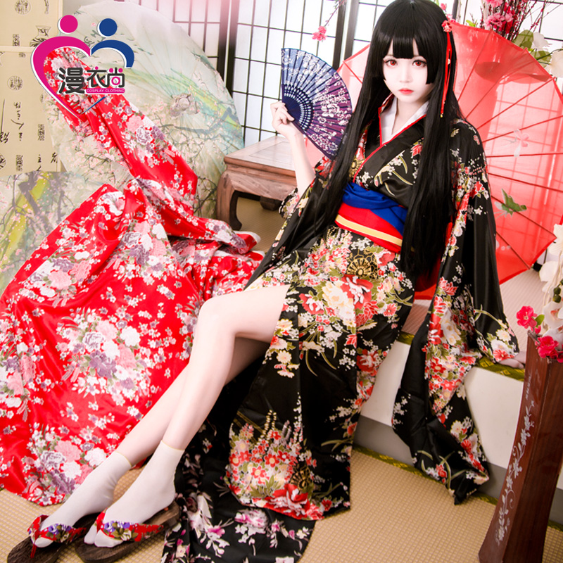Jigoku Shoujo Enma Ai Maid Dress Kimono Yukata Uniform Outfit Anime Cosplay Costumes Kimono + Belt  + bowknot + folding fan