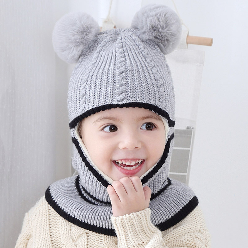 793b46861 Fashion Baby Hats with pompom balls Crochet Baby Hat with Hooded ...