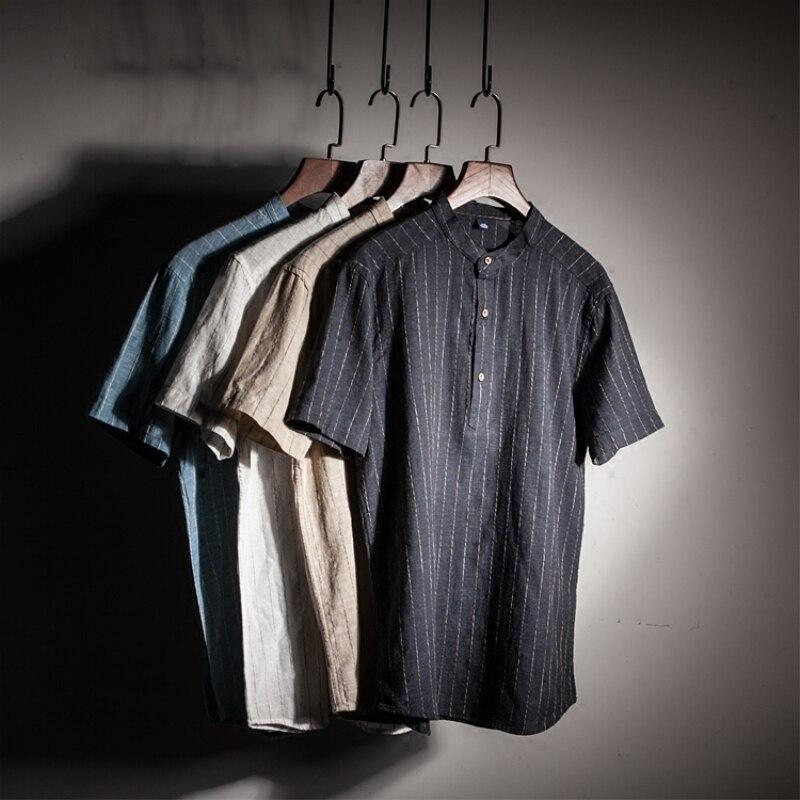 LFF 2018 New Arrival Men Fashion Vertical Stripes Cotton Linen Stand Collar Short Sleeve Shirt Male Casual Thin Pullover Shirt