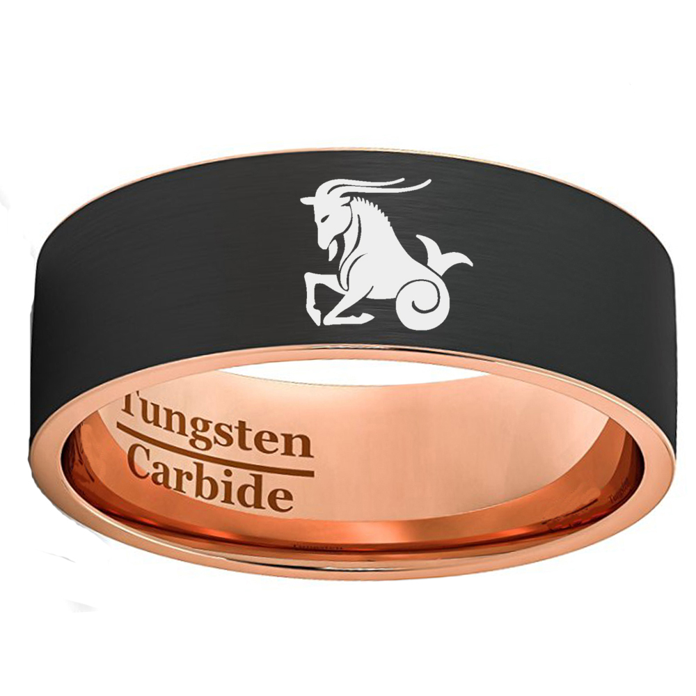 Custom Zodiac Capricorn Flat Matte Recording Rings for Men Women 8mm Black & Rose Gold Color Tungsten Carbide Wedding Band european pastoral village glass desk lamp bedroom bedside lamp warm modern minimalist creative flowers desk lamp free shipping
