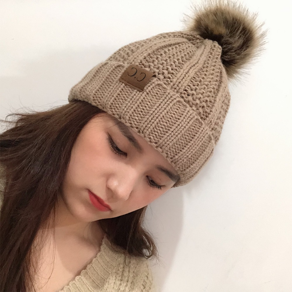 2f363044973ee Lady s Winter Warm knitted hats Beanie CC with Cute Faux Fur Pom Pom Ball  Skully outdoor Women casual ski caps-in Men s Skullies   Beanies from  Apparel ...