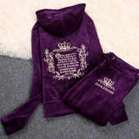 2019 Women'S Brand Velvet Fabric Tracksuits Velour Suit Women Track Suit Hoodies And Pants sapphire