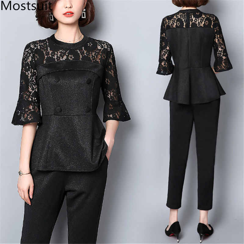 Plus Size Black Office Two Piece Sets Women Hollow Lace Patchwork Flare Sleeve Tops And Cropped Trousers Sets Suits Women's Sets